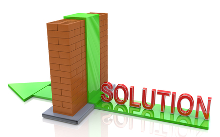 abstract 3d illustration of arrow and brick wall, right solution concept in the design of information related to the forward toward the goal