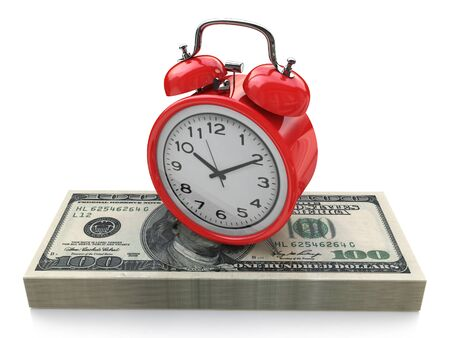 Time is money concept with clock and dollars in the design information related to business and economy