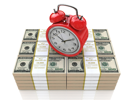 buying time: Time is money concept with clock and dollars in the design information related to business and economy