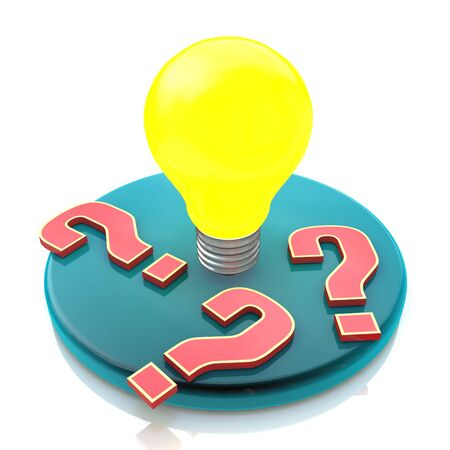 Idea light bulb amongst question marks isolated on white background in the design of information related to innovation