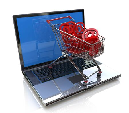 online shopping 3d concept in the design of information related to trade on the Internet