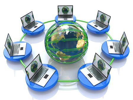 laptop: Global computer Network in the design of information related to internet Stock Photo