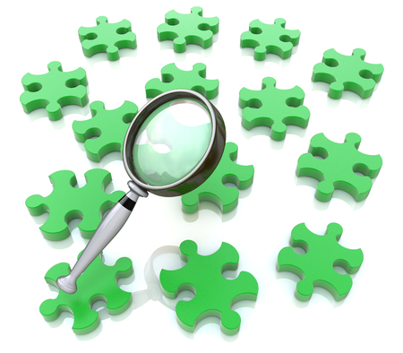Magnifying glass on the green puzzle in the design of the information related to the search