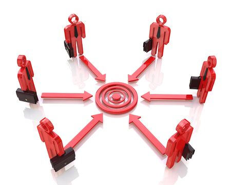 Corporate business executive people aim at concentric circles of marketing target in the design of information related to the business motivation Stock Photo