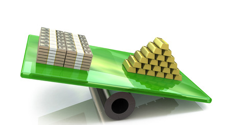 Heap of gold bars on a scale with dollars in the design of information related to business and economy Stock Photo