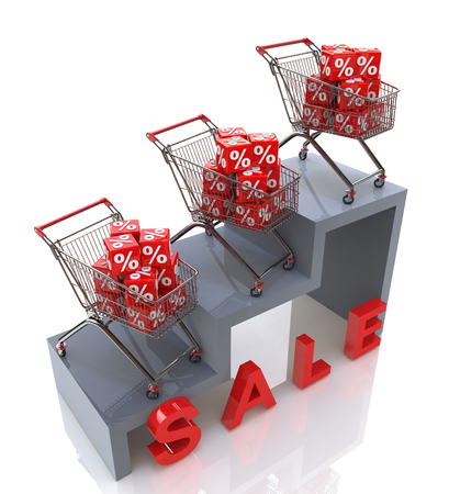 Sale, Discount growth in the design of information related to trade Stock Photo