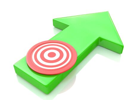 Green arrow direction to the target in the design of information related to the objectives