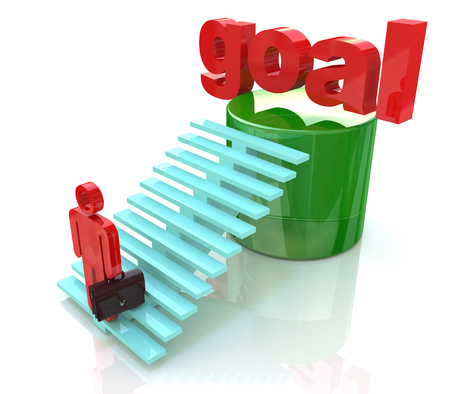 3D Man climbing ladder to the word goal, Business goal concept in the design of information related to the objectives of business Stock Photo
