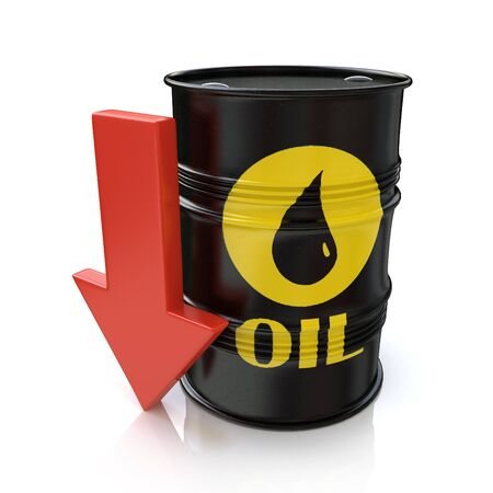 Barrel of oil and red arrow. The concept of reducing oil prices in the design of the information related to the economy Stock Photo