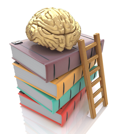 Wooden ladder standing near books pile. on top of the book is a gold brain. isolated on white including clipping path. in the design of information related to the design and ideas