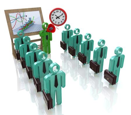 Equipo de gestión de los trabajadores de oficina en los negocios en el diseño de información relacionada con la comunicación y el negocio Foto de archivo - 82455152