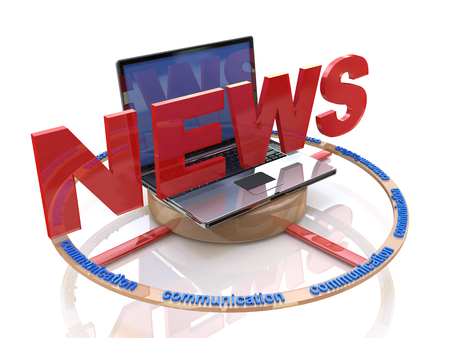 Media. Text NEWS. Laptop with the word news. Online news in the design of information related to the communications and information Imagens