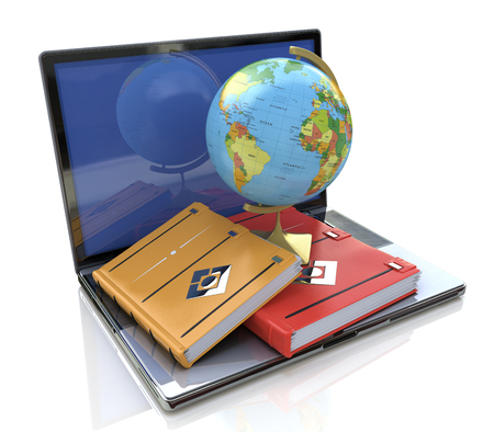 Education concept. e-learning in the world in the design of information related to education