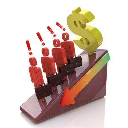 ドルの下落の脅威。ビジネスと経済に関連する情報のデザインで金融危機の概念