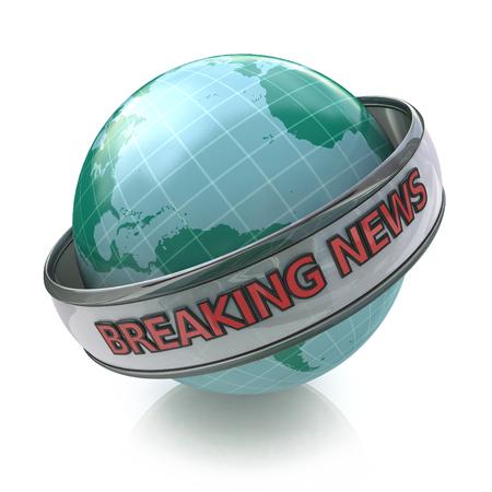 Breaking News Globo en 3D incluyendo trazado de recorte en el diseño de información relacionada con el logro de los objetivos empresariales Foto de archivo - 82455159