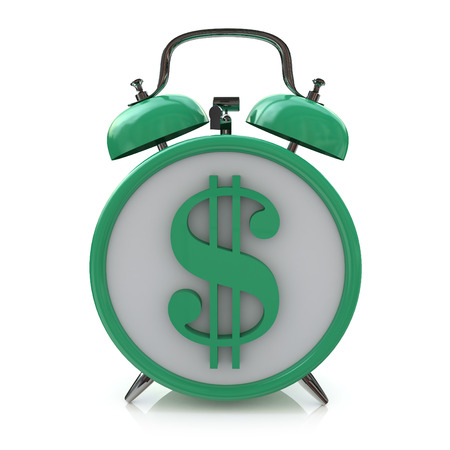 Green alarm clock with dollar symbol on clockface. Time is money in the design of information related to business and economy