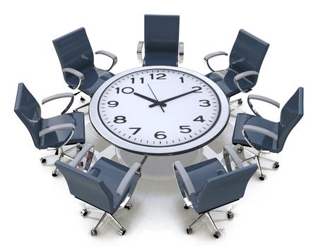 会議の時間のビジネスに関連する情報のデザインの大きな時計の文字盤にラウンド テーブル