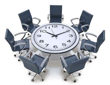 Meeting time - round table with a large clock face in the design of information related to business