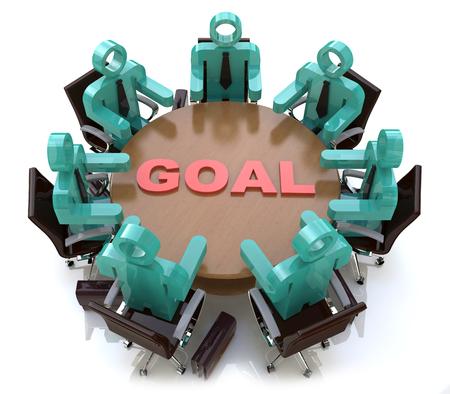 3d people - hommes, personne à la table de conférence. Objectif de la conception de l'information liée à la réussite en affaires Banque d'images - 82455169
