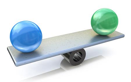 バランスの 2 つの球。アイデアの概念に関連する情報のデザインの 3 d レンダリングされた図 写真素材