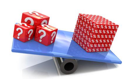 Los porcentajes traducen problemas de cubos en el diseño de información relacionada con descuentos y problemas Foto de archivo - 82455172