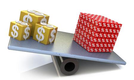 ドルと金と割引に関連する情報のデザインのスケールのバランスに % のキューブ 写真素材