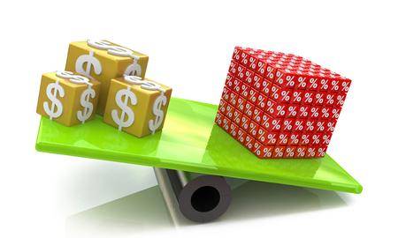 Les cubes de dollars ont dépassé le pourcentage de cube aux informations d'inscription associées à l'argent et aux réductions Banque d'images - 82455198