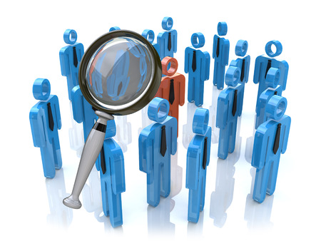 Magnifying glass searching people in the design of information related to business