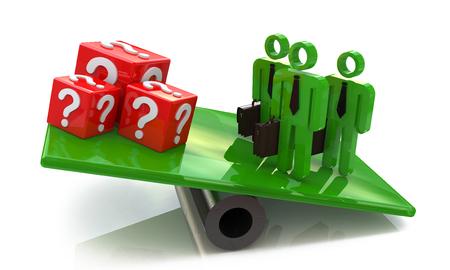 チームが問題を解決するのに関連する情報のデザインの質問を持つキューブを上回る