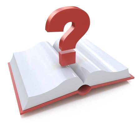 空白の開いている本とクエスチョン マーク。よくある質問に関連する情報のデザインの 3 d レンダリング図 写真素材