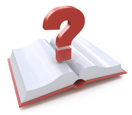 Blank open book and a question mark. 3d render illustration in the design of information related to the faq Stock Photo