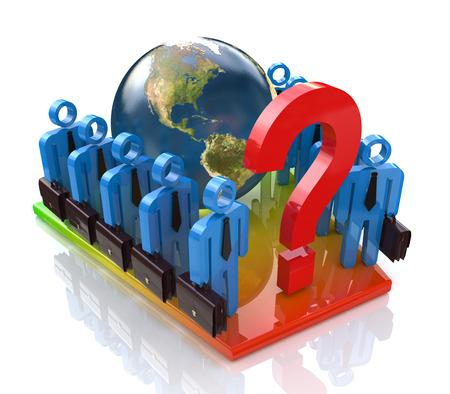 Equipo de negocios en la solución del problema global en el diseño de la información relacionada con los temas y de negocios Foto de archivo - 82455201