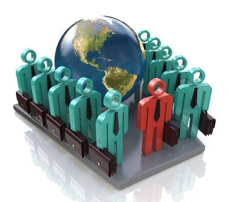 グローバルなビジネス人々 のグループが進むし、ビジネスに関連する情報のデザインをリード