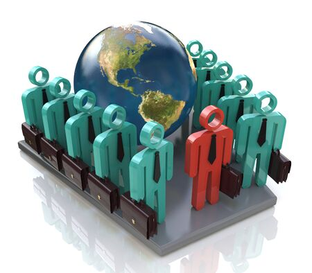 Group of global business people goes forward and Leader in the design of information related to business