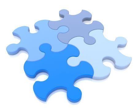 コンセプチュアルなアイデアに関連する情報のデザインを一緒に組み立てて青の異なる色合いの 4 つのパズルのピースの 3 D レンダリング