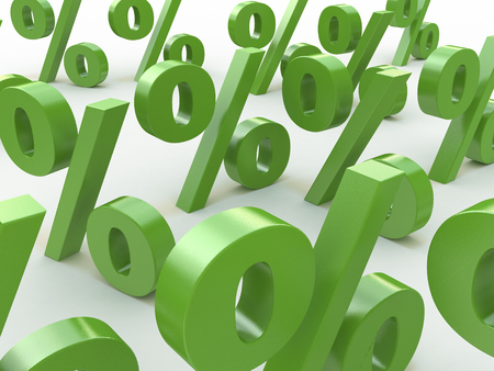 3D green signs percent in the design of information related to business and economics