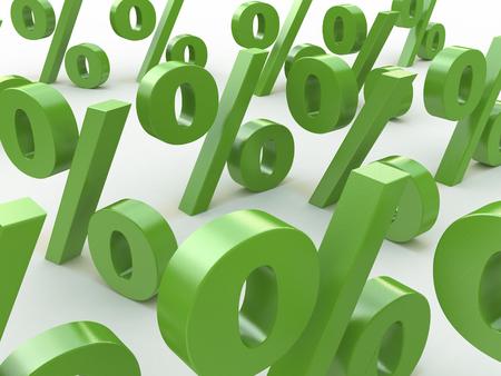 3D signos verdes por ciento en el diseño de la información relacionada con los negocios y la economía Foto de archivo - 82455206