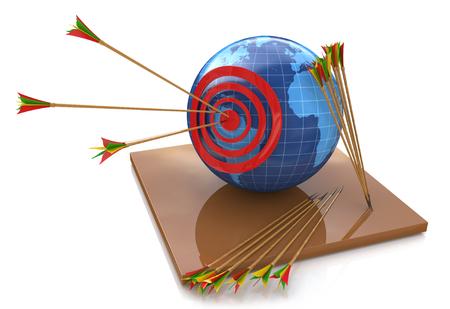 世界および目的に関連する情報のデザインのための雄牛の目の世界ターゲット、赤い矢印 写真素材