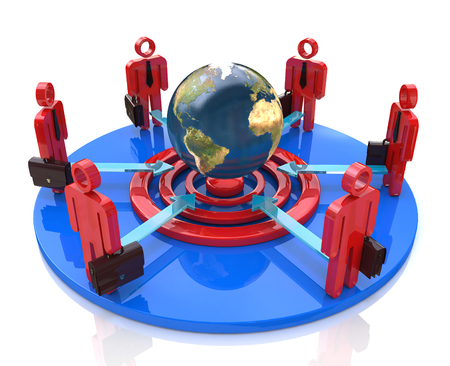 A group of competitors in a circle aiming for the same global goal in the design of information related to the business and the people Banque d'images