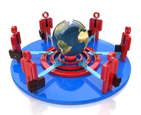 Un grupo de competidores en un círculo de puntería para el mismo objetivo global en el diseño de la información relacionada con el negocio y la gente Foto de archivo - 82455210