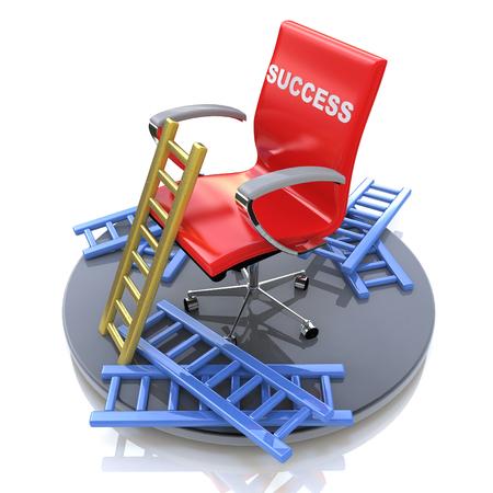 碑文 - 成功と失敗に関連する情報のデザインの成功と赤い椅子