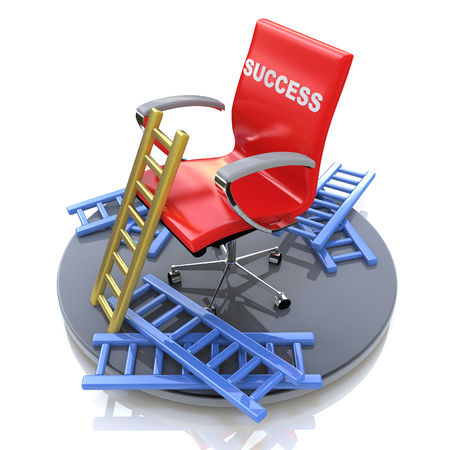 Red chair with an inscription - success in the design of information related to success and failure Banque d'images
