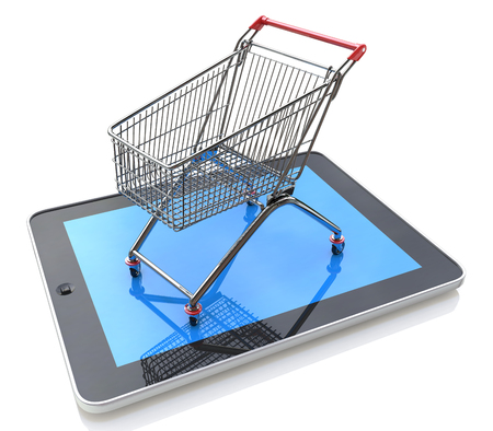 Shopping Cart over a Tablet PC on white background in the design of information related to trade on the Internet