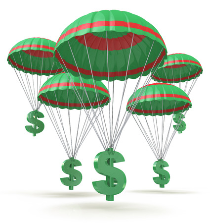 Dollar signs parachuting down from the sky for the design of information related to business and economy