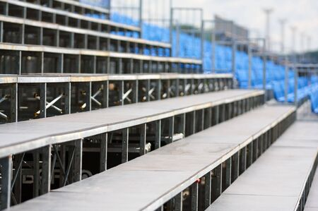 diminishing perspective: Diminishing perspective on empty grandstand Stock Photo