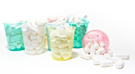 pills in cups Stock Photo