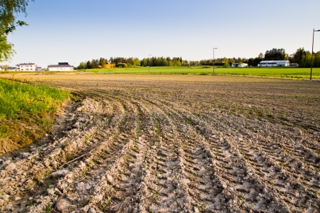 ploughed field Stock Photo