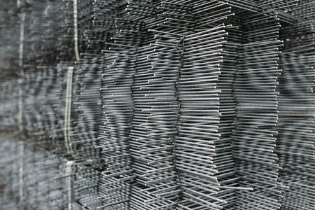 Metall grid industrial background. Metallic grid, horizontal photo Stock Photo