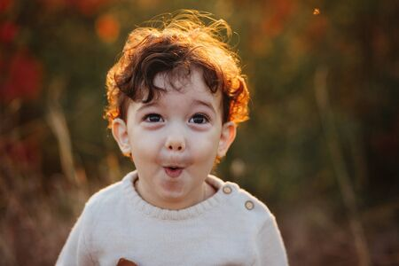 Happy surprised little child, baby boy laughing and playing in the autumn on the nature. Autumn concept, hello autumn.