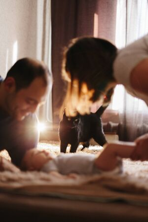 Parents playing with baby boy. Their home pet, black cat is looking at little baby Stock Photo